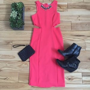 ASOS Pink/Coral Cutout Bodycon Dress - Sz. 4