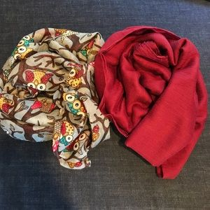 Accessories - Grey Owl Infinity & Maroon Cotton Scarves