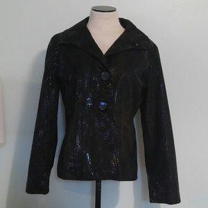 genuine 100% leather jacket patent snake print 1