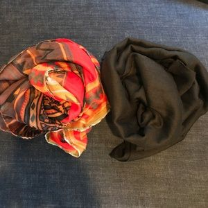 Accessories - Red Tribal & Black Cotton Scarves