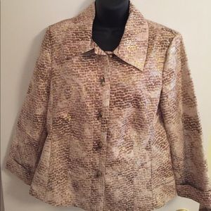 Chicos Lt. Bronze and Gold Light Weight Jacket