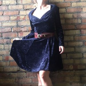 Vtg Lagenes Black Velvet Dress