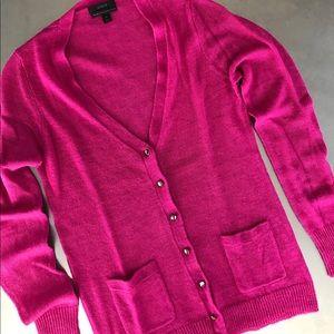 J. Crew | pink bling button sheer cardigan