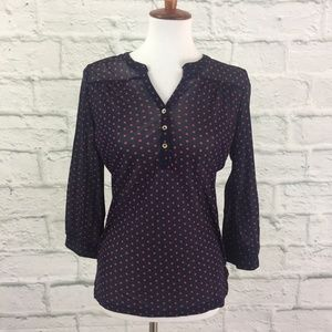 Limited Outback Red Mesh Polka Dot Top