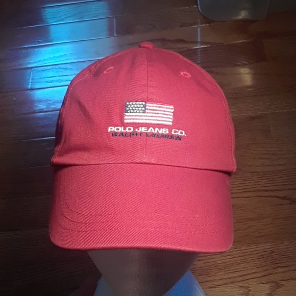 9e27346f1b874 Vintage Polo Jeans Co Spell Out dad strapback hat.  M 59c41e7699086ad66002081d