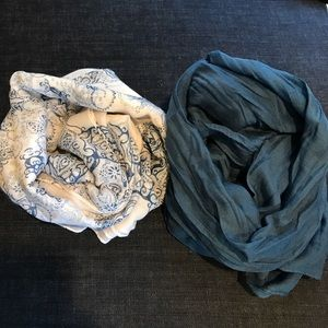 Accessories - White Patterned & Blue Cotton Scarves