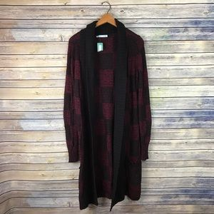 Maurices Maroon Black Long Chunky Duster Cardigan