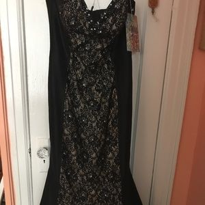 Black/nude mermaid Jovani dress