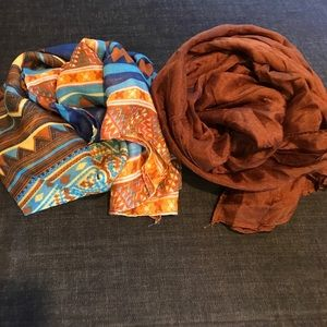 Accessories - Blue Tribal & Brown Cotton Scarves