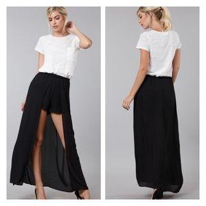 Black chiffon maxi shorts