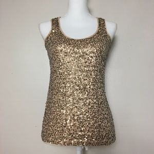 J. Crew Gold Fully Sequinned Beige Tank Top