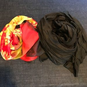 Accessories - Red Floral Chiffon & Black Cotton Scarves