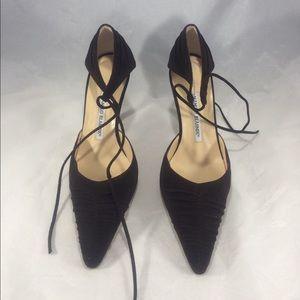 Brown suede Manolo Blahnik strapy closed toe heels
