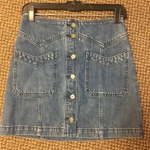 Free People 70's Denim Button Front Miniskirt 0