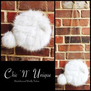 Handbags - Round Fur Clutch and Cross-body Bag
