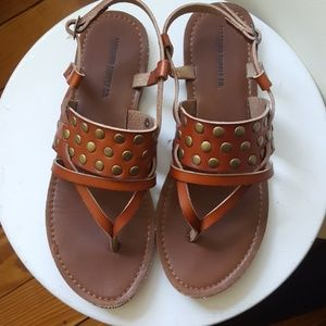 Brown real leather studded sandals, size 7