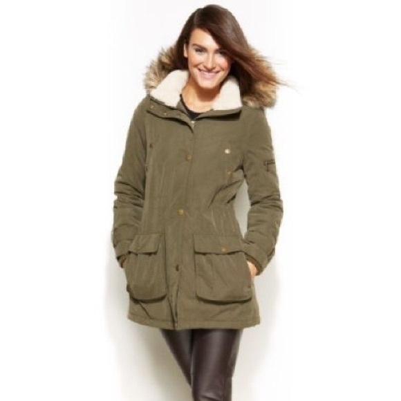 65% off Dkny Jackets & Blazers - DKNY Olive Green Coat w/fur ...