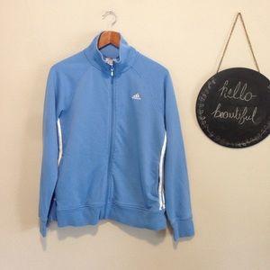 Adidas Light Blue Zip Up Knit Track Jacket L