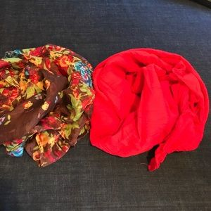 Accessories - Brown Floral & Red Cotton Scarves