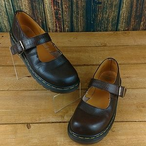 DOC MARTENS WOMENS BROWN LEATHER MARY JANES SHOES