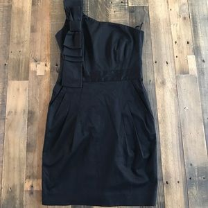 French Connection Black One Shoulder Dress