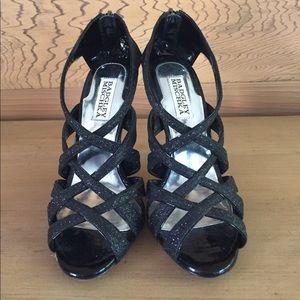 EUC BADGLEY MISCHKA black sparkly stilettos size 7