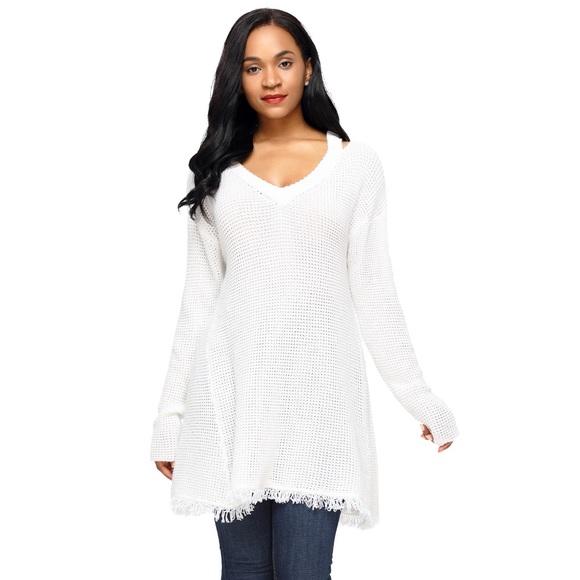 e8c9feef826 Chunky Knit Cold Shoulder V Neck Sweater White