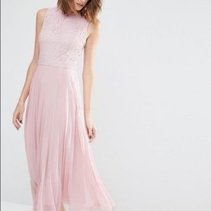 Pink pleated chiffon dress
