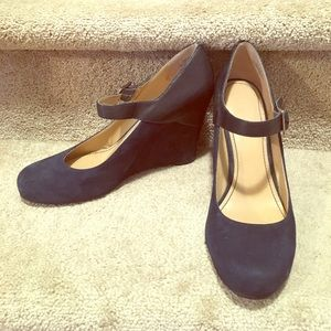 Leather and suede navy Mary Jane wedges