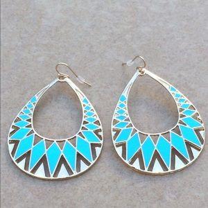 Jewelry - Gold Tone Turquoise Enamel Open Tribal Earrings