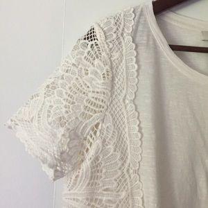 LOFT lace side short sleeve tee shirt sz S