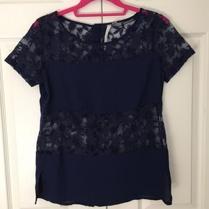 LC Lauren Conrad Navy Embroidered Blouse