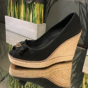 Tory Burch Black Espadrille Wedges - Size 8