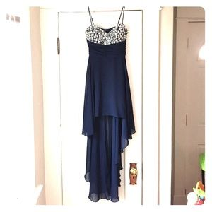Hi low blue dress with beaded chest