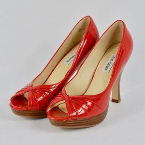 {Steve Madden} Red Patent Peep Toe Heels