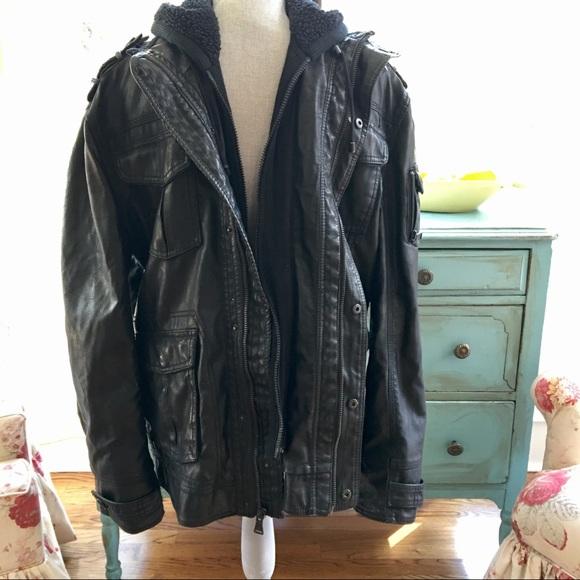 7e1ff0277 Men's Vegan Leather Biker Jacket Layered Hoodie