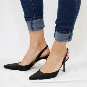 Manolo Blahnik Black Slingback Heels Size 39.5