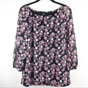 Ann Taylor Floral Blouse with Sheer Sleeves.