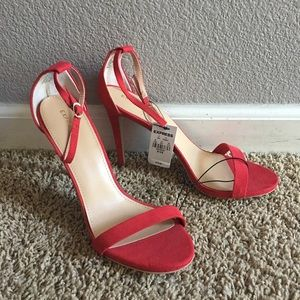 Red Strappy Suede Heel