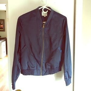 Silence + Noise Blue Satin bomber jacket