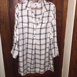 Old Navy plaid dress, new w/tags, large, wh/bl