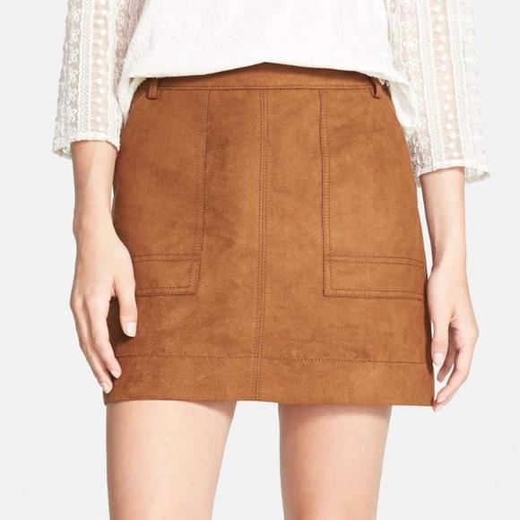 29ecdd6fc2 Nordstrom Hinge Faux Suede Cognac A Line Skirt. M_59ce69f92599feb59200e2e5