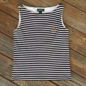 Ralph Lauren // boat neck breton tank crest Sz s