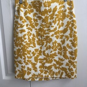 Mustard and white floral print skirt