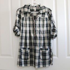 Free People Plaid Cotton Tunic Size 12