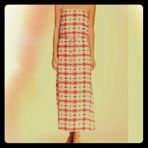 Michael Stars Silk Strapless Maxi Dress