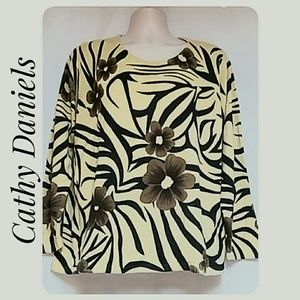 Cathy Daniels Plus-Size Zebra Floral Sweater 2X