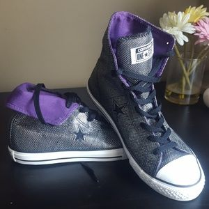 One Star Glitter Converse Purple Lined