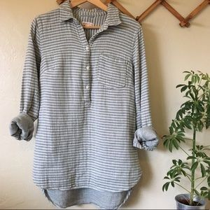 Half button Tunic green and grey stripes