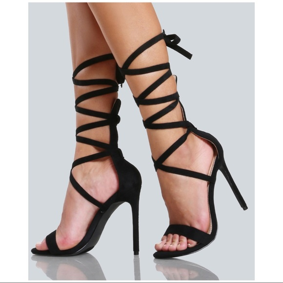 0f90314c7da0 Liliana IRINA-20 Black Strappy Tie-Up Stiletto